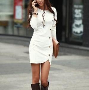 BEBE White Button Down Long-Sleeve Bodycon Dress